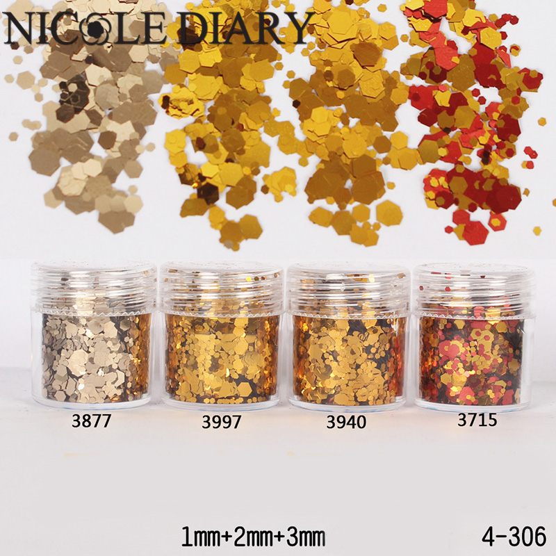 10ml/Box Glitter Powder Tips Agate Gold 1mm & 2mm & 3mm Mixed Powder Nail Decoration 8306569(China (Mainland))