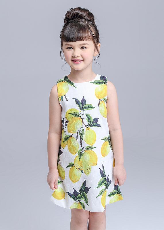 Robe Fille 2016 Baby girl summer dress sleeveless lemon print wedding dresses girl clothing Vetement Fille B0728(China (Mainland))