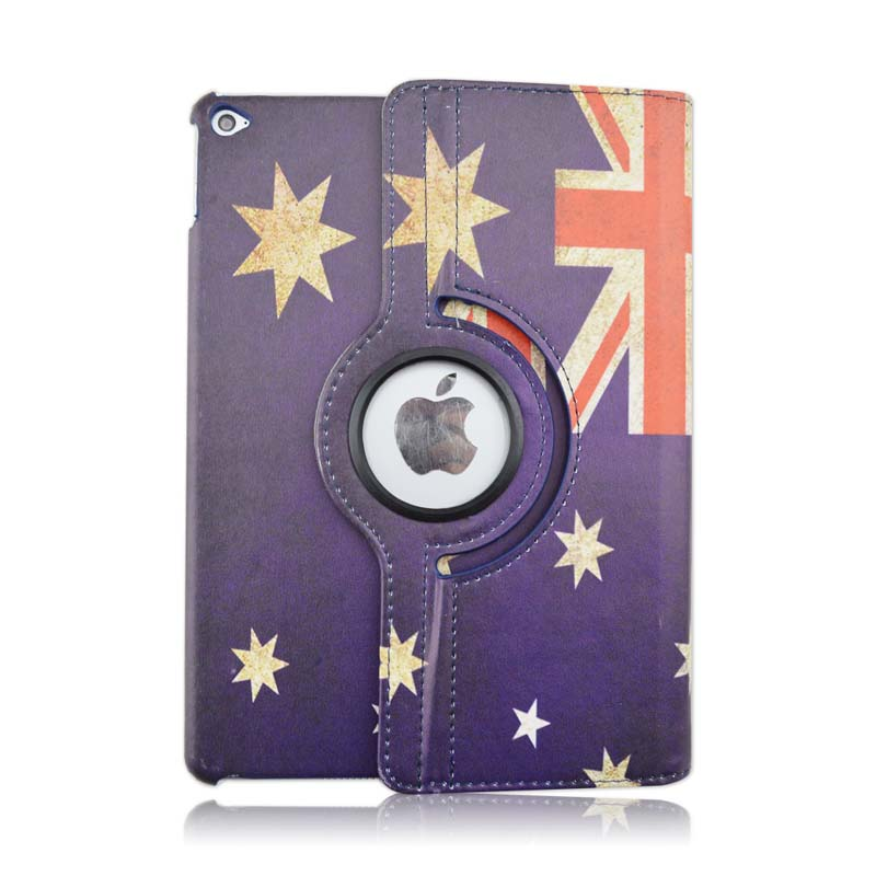 Protective Case Apple iPad Air 2 iPad 6 Tablet Sleeve AU & CA National Flag Stand 360 Degree Rotating Flip PU Leather Cover