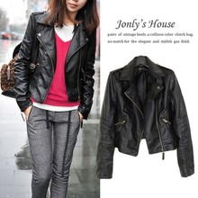 Women leather Jacket Coat XS-XL slim Short Paragraph diagonal Zipper outerwear coats new 2015 autumn motorcycle jacket us403(China (Mainland))