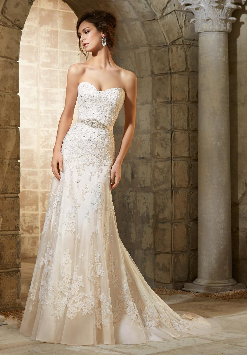Elegant sheath lace long wedding dresses white ivory 2015 for Ivory wedding dress sash
