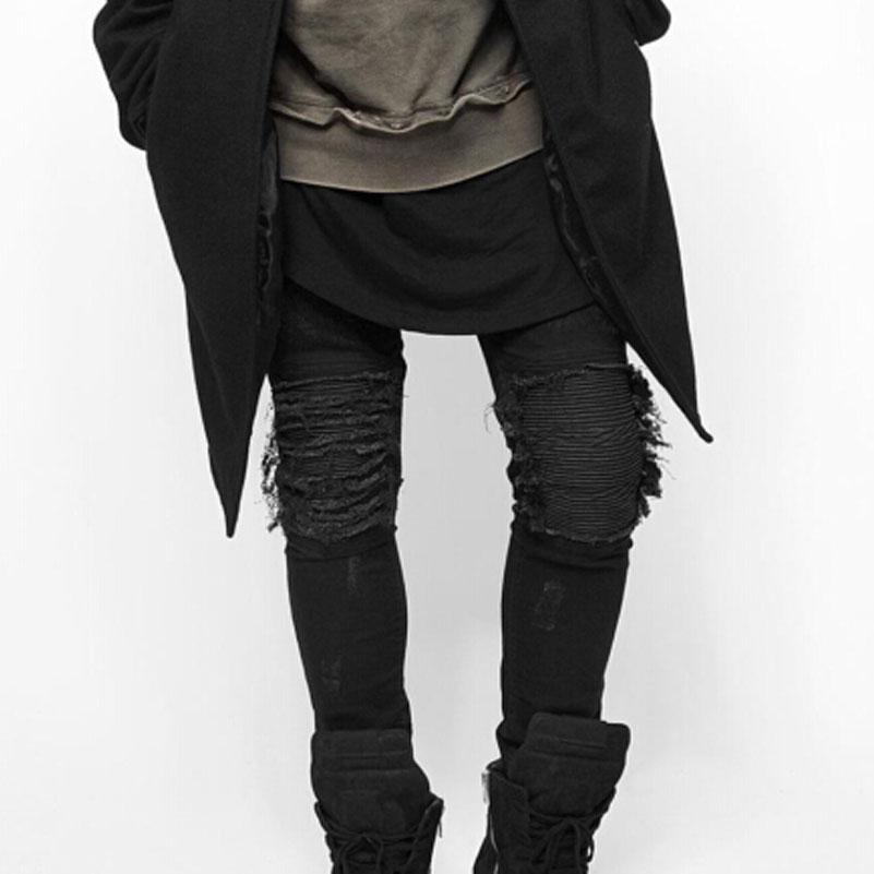 Скидки на Мужские Джинсы Тонкий Тощие Карандаш Брюки Проблемные Джастин Бибер Хип-Хоп Swag Kanye West Одежда 424 Высокое Качество 2017 Мода
