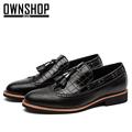 OWNSHOP Men Shoes Tassels Black Men Casual Shoes Claret Brogue Shoes TOP Fashion Men Shoe For