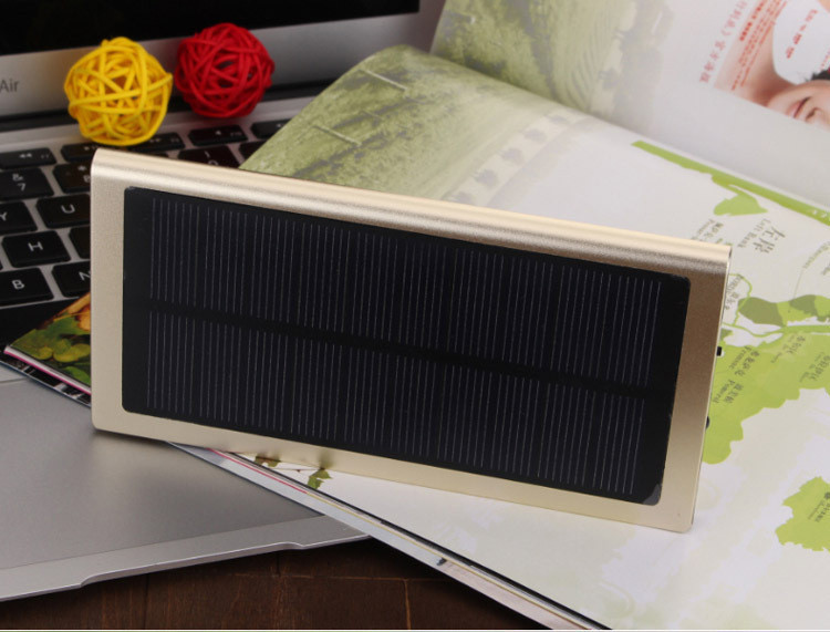 Solar Battery 20000mah Power Bank Ultra Thin Slim 9.9mm Led Portable External Battery Backup Charger For iphone 6s samsung