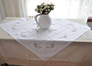 """100% Handmade Cotton Embroidered  Table cloth Overlay 85X85CM SQ(33X33"""")  Free shipping!"""