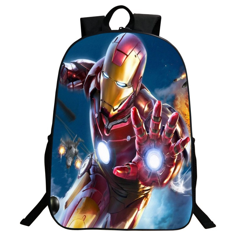 Sales Promotion 2016 New Style Oxford 16-Inch Prints Hero Iron Man Teenagers Schoolbag Kids Baby School Bags Boys Backpack(China (Mainland))