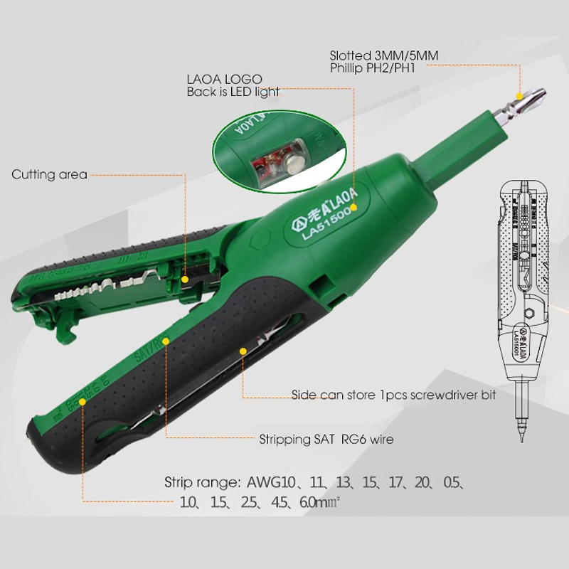 1PCS LAOA Multifunction Electric tester Electroprobe Wire Stripper Cutter Stripping Machine Screwdriver Free Shipping(China (Mainland))