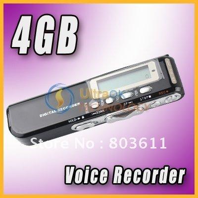 4GB 4G Mini Built-In Speaker MP3 WAV LCD portable pocket Digital Voice Recorder Black new free shipping(China (Mainland))