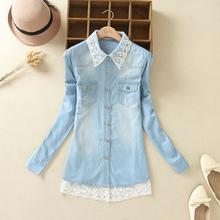 XH08 Fashion Women Elegant Denim blue Lace Patchwork blouses Turn down collar long sleeve pocket shirts XXL Plus Size casual top(China (Mainland))