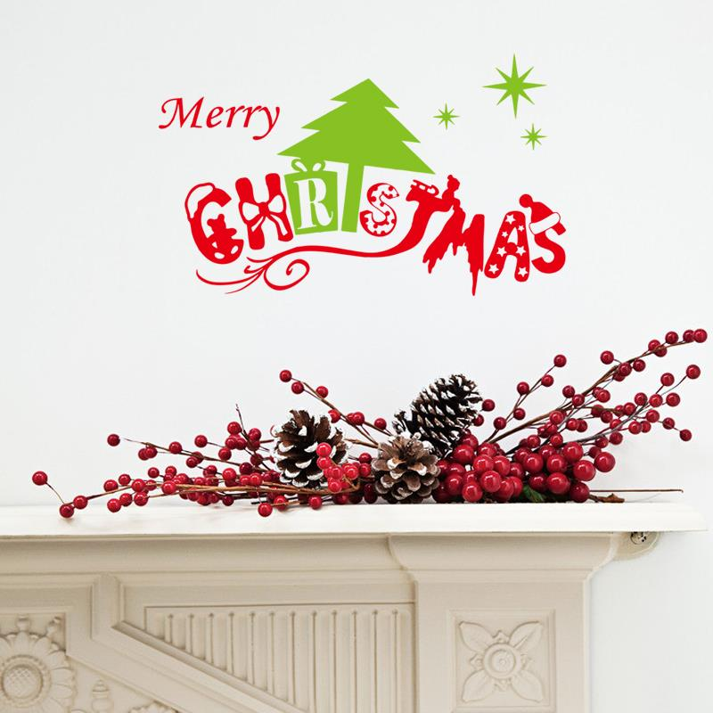 Diy gift merry christmas wall stickers vinyl wall decals for Christmas wall mural plastic
