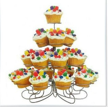 Free Shipping New Cupcake Stand Tree Holder Muffin Serving Birthday Cake 23 Cup Party 4 Tier
