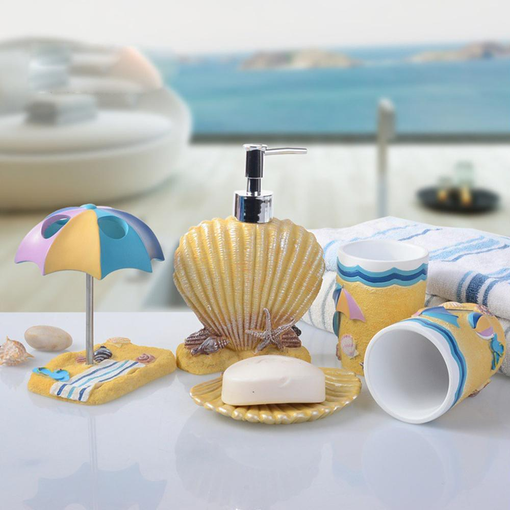 5pcs bathroom accessories set children sea shell style for Sea bathroom accessories