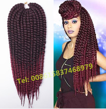 Hot Selling Havana Mambo Twist Braids in Synthetic Bulk Hair 2x Senegalese ombre wine red synthetic crochet braiding hair
