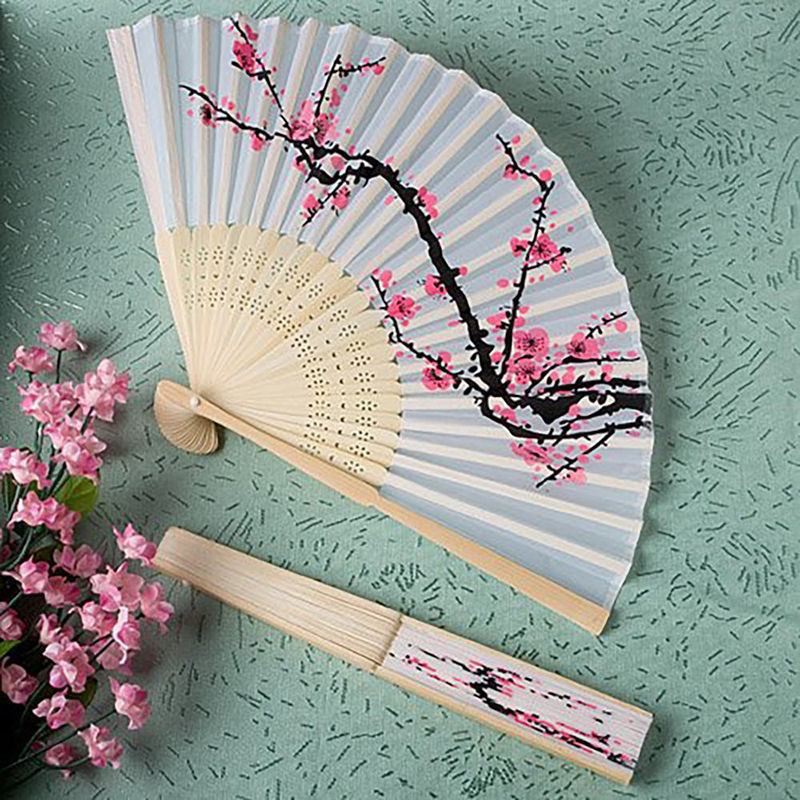 Chinese Vintage Wood Cheap Folding Fans Floral Print Hand Held Folding Fans White Wooden and Cloth Summer Women Girl Dancing Fan(China (Mainland))