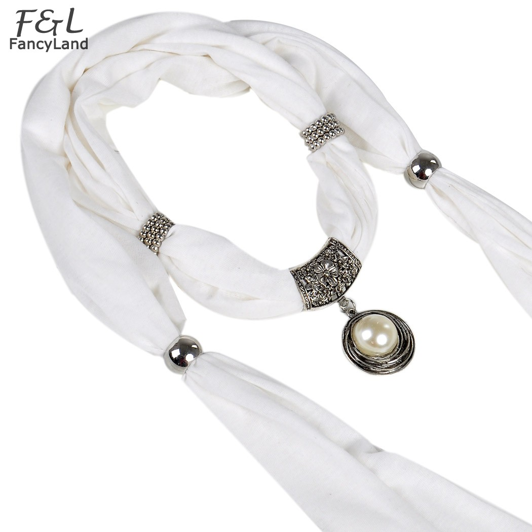 Women Scarf Pearl with rhinestones pendant scarf jewelry tassels beads Cotton Soft scarves 36(China (Mainland))