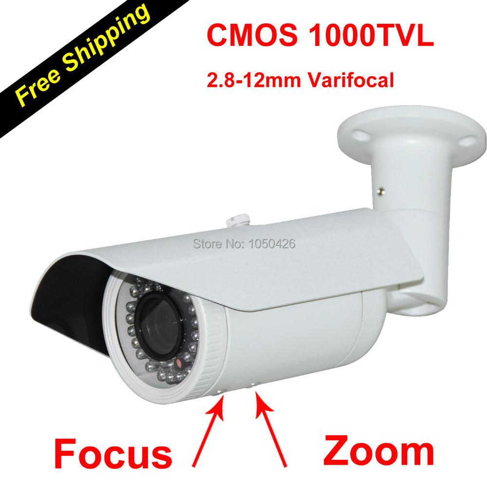 2.8-12mm Varifocal Zoom 1000TVL Infrared IR 50M Outdoor CMOS Sensor Bullet Analog CCTV Video Camera Security & Protection(China (Mainland))