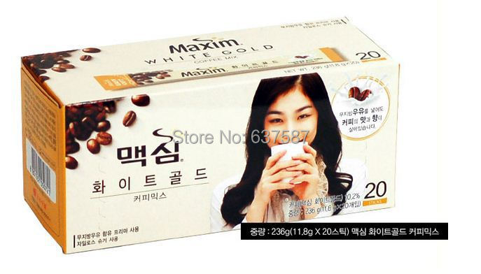 Free Shipping 100 Original Korean Instant Coffee Mix Maxim White Gold 20 Sticks Sweet Coffee