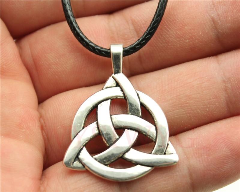 WYSIWYG fashion 2 colors antique bronze, antique silver tone Triquetra Symbol pendant leather chain necklace