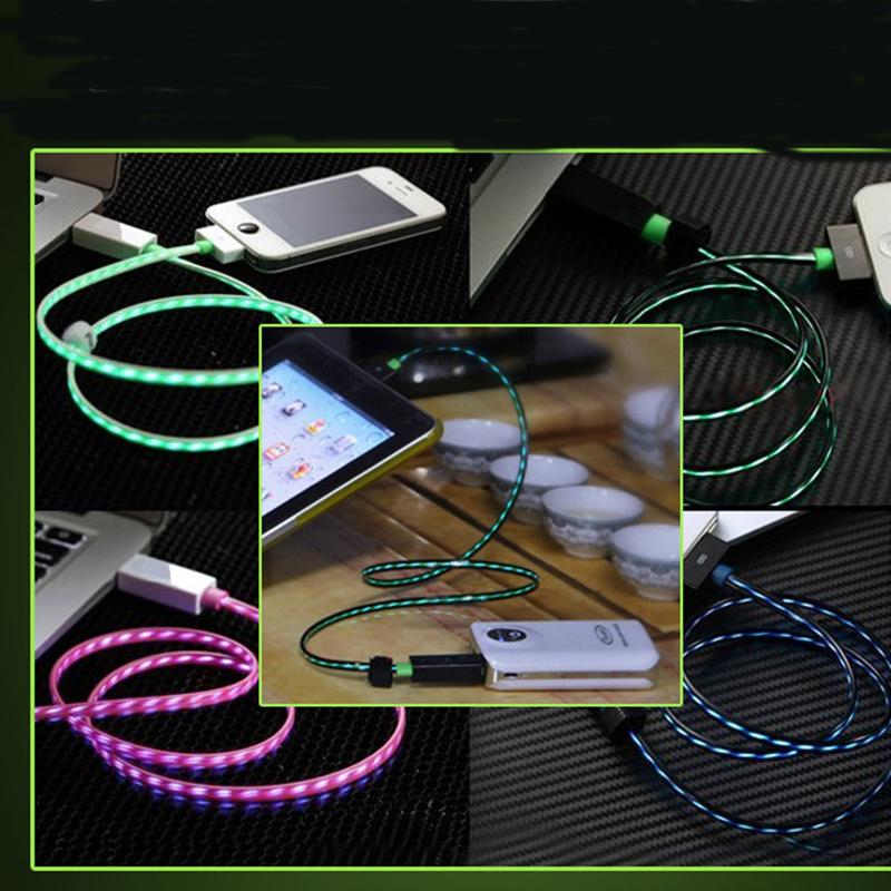 Universal Mobile Phone Three Generations of Streamer Emission Data Line USB Charging Cable LED Light Emitting EL Dynamic Current(China (Mainland))