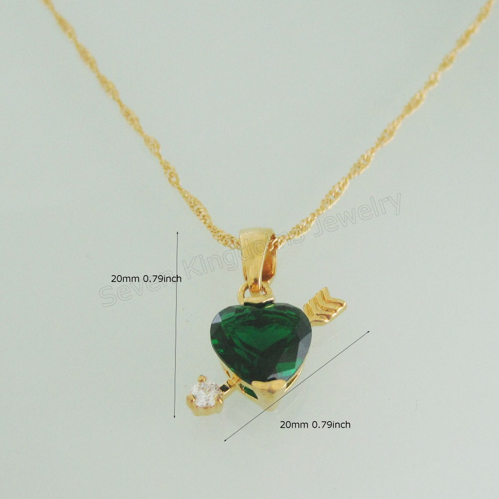 """HEART PENDANT WITH ARROW ON THE BACKSIDE GREEN ZIRCON CZ 18"""" NECKLACE 18K YELLOW GOLD COATED /Min order 10$ Can mix design/(China (Mainland))"""