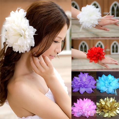 Bridal Wedding Party Flower Fascinator Elastic Pin Hair Wrist Corsage Brooch Headband Women 1TLJ(China (Mainland))