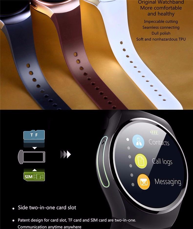 ถูก ใหม่สมาร์ทนาฬิกาKw18นาฬิกาบลูทูธสำหรับip hone a ndroid h eart rate monitor relógio femininoซิมการ์ดMp3/Mp4เครื่องเล่นนาฬิกา