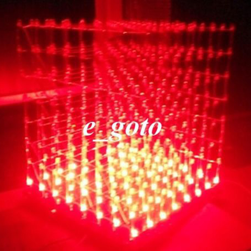 3D LED LightSquared White Red Ray 8x8x8 3mm Cube DIY Kit 5V power supply