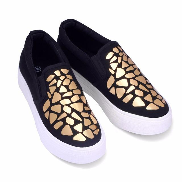 Новая женская мода, весна 2016. Льняная женская обувь с блёстками и плоской подошвой ...