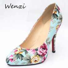 Shoes Woman Zapatos Mujer High Heels Sapato Feminino Scarpe Donna Chaussure Femme Talon Floral Print Heels Sapatos Ladies Shoes