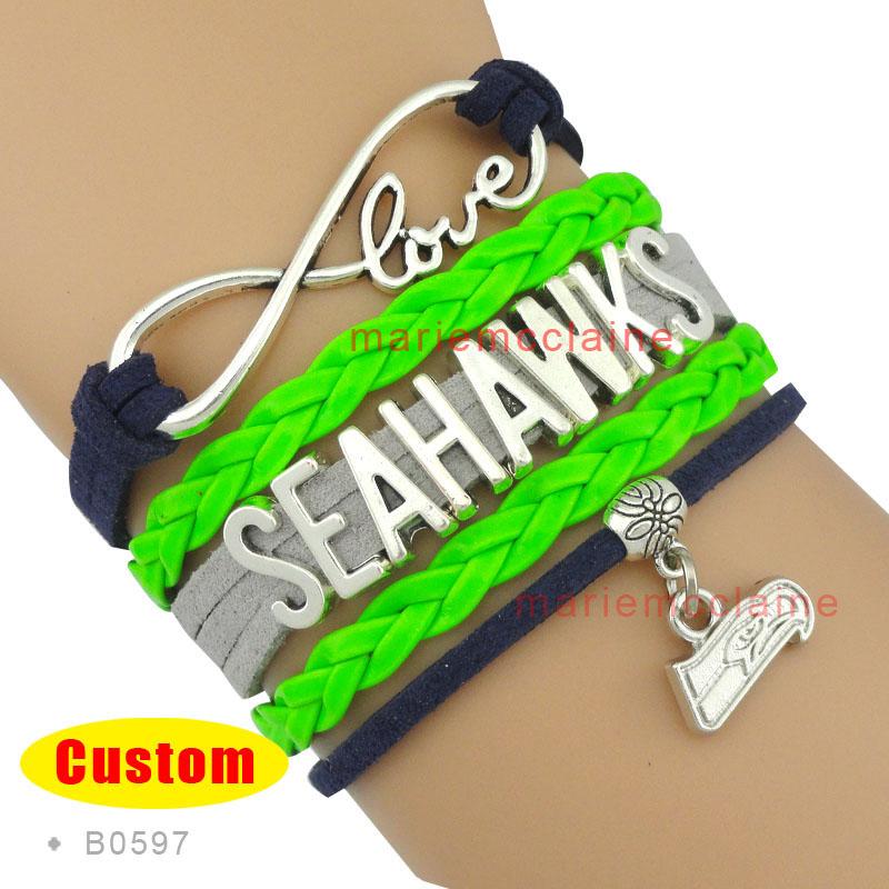 (10 Pieces/Lot) Infinity Love Seattle Football Bracelet Seahawks Team Bracelet Navy Green Fashion Multilayer Wrap Bracelet(China (Mainland))