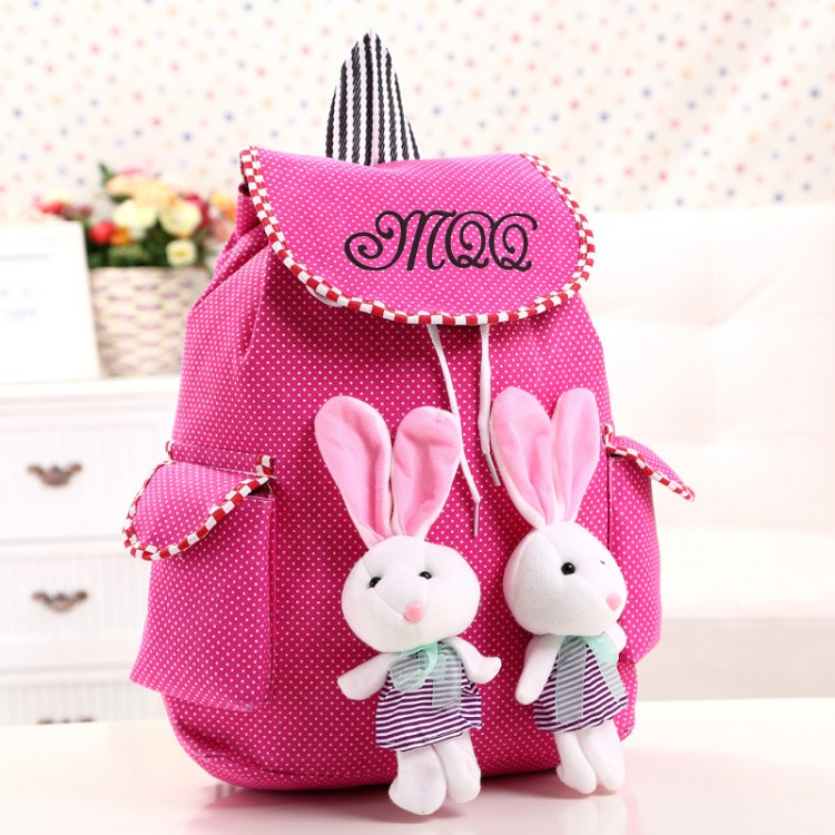 Cute cartoon fashion backpack Puppets rabbit school bag for teenage girls Light cotton children travel bags beauty backage(China (Mainland))