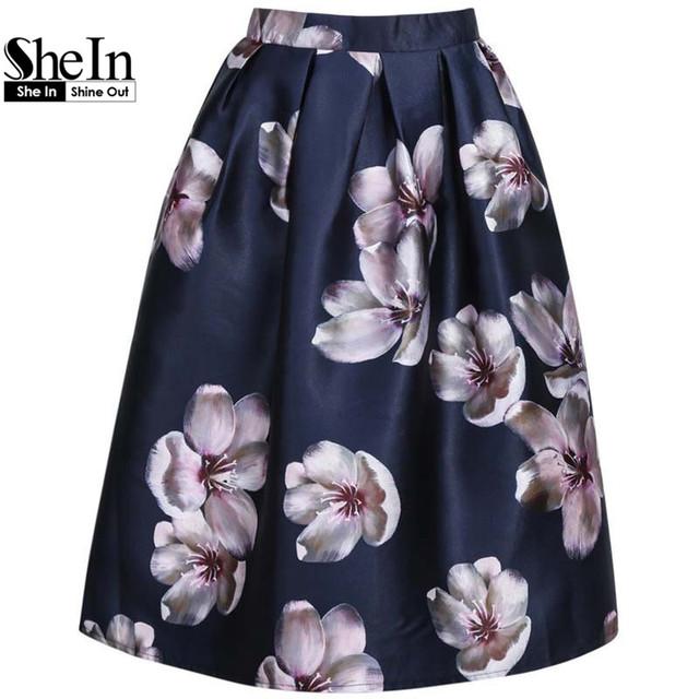 Shein женский цветочные печатных плиссированные высокой талией ретро женщин весна ...