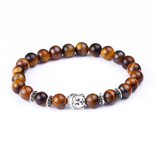 Buy Handmade Elastic Rope Chain Tiger Eye Natural Stone Bracelets Volcanic Lava Stone Buddha Beads Men Women Gift Jewelry Wholesale for $1.49 in AliExpress store