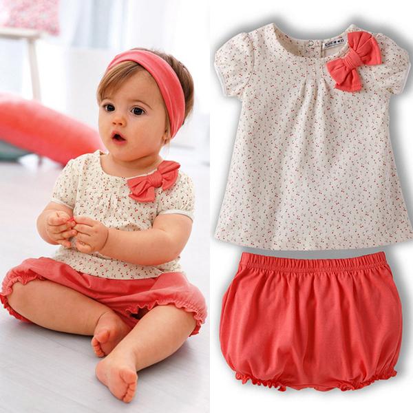 Kids Baby Girls Cherry Clothes Set Dots T-shirt Tops+Pants 2Pcs Outfits Bow Cotton Clothes Set <br><br>Aliexpress