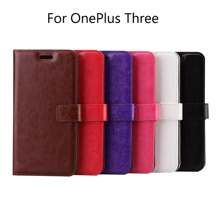 With Stand Wallet Leather Case for OnePlus Three With Card Holder And Photo Frame Flip Leather Cover for OnePlus Three(China (Mainland))