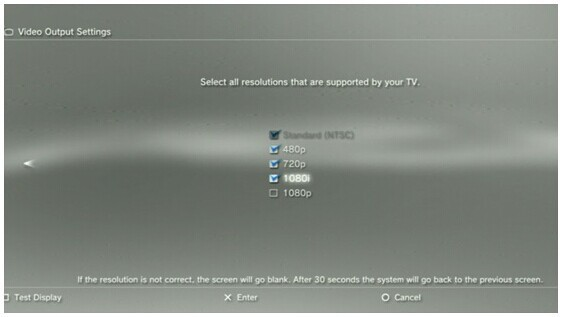 ps3 settings resolution