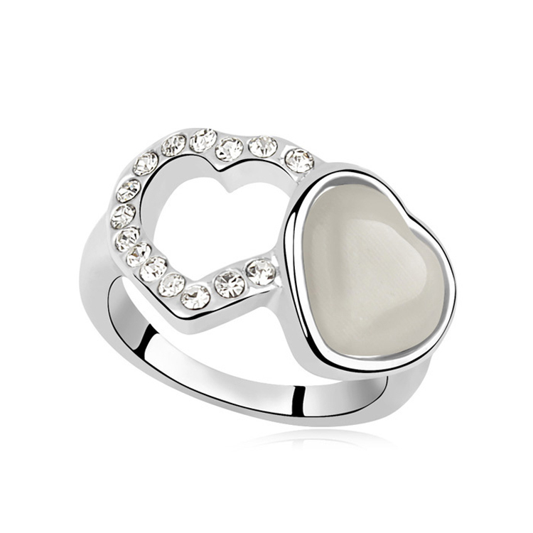new Luxury Crystal Ring fashion woman sell well Opal Ring plated Gold Double Heart Ring 96667(China (Mainland))