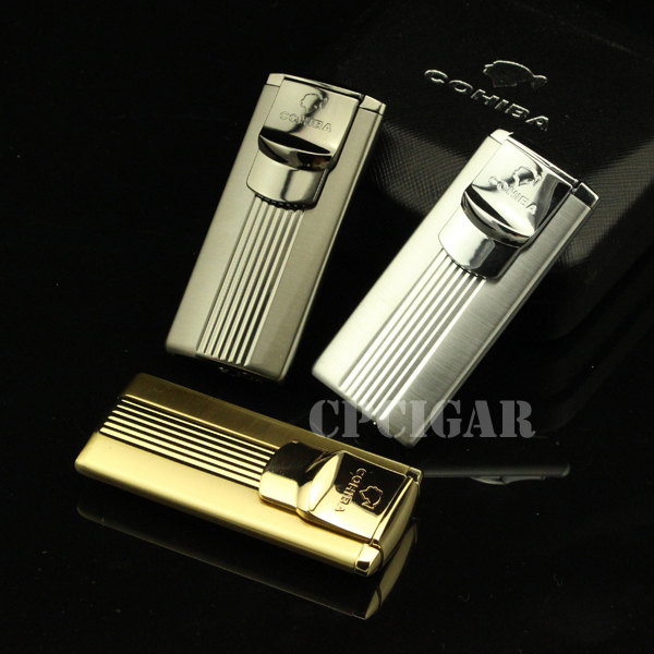 COHIBA Accessories Pocket Metal Refillable Butane Gas Windproof 4 Torch Jet Flame Cigarette Cigar Lighter by CP Cigar LC-09B(China (Mainland))