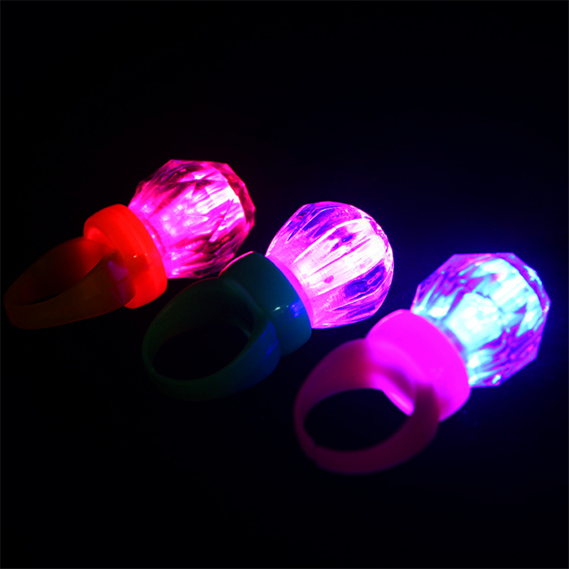 30pieces/lot Crystal Small Diamond Flashing Finger Ring Led Light Up Kids Finger Ring Toys for Birthday Wedding Party Favors(China (Mainland))