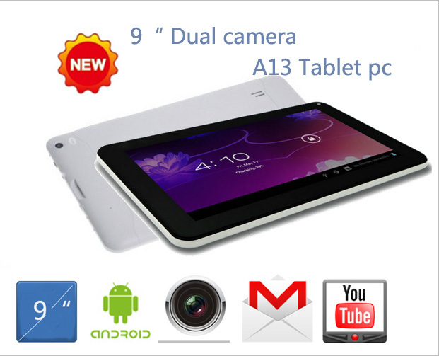 "New Dual Cameras 9 inch Android 4.0 Allwinner A13 Tablet pc Cortex A8 512MB 8GB Capacitive Screen 9"" netbook pc(Hong Kong)"