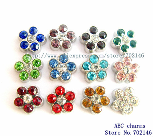 Free Shipping New Style 10pcs Mix Color Rhinestone Flower Floating Locket Charms Fit Living Memory Floating Memory locket FC153(China (Mainland))