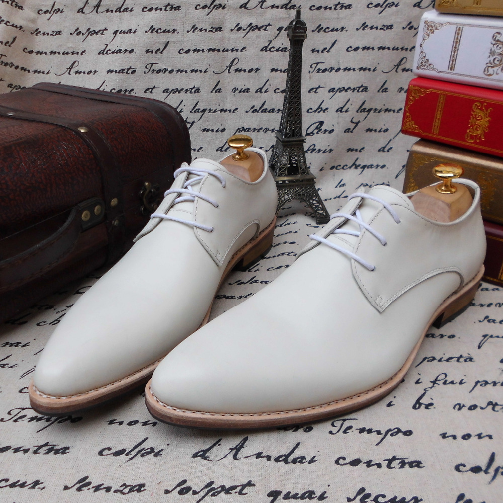 SKP62 Custom Made Genuine Calf Leather Oxford Shoes Color White Goodyear Welt, Leather Outsole Big Size 37-48 Free Shipping<br>
