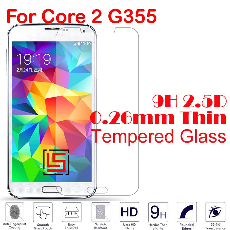 0.26mm 2.5D 9H Tempered Glass Cristal Verre Phone Front Film Screen Protector Protective Guard For Samsung Galaxy Core 2 G355(China (Mainland))