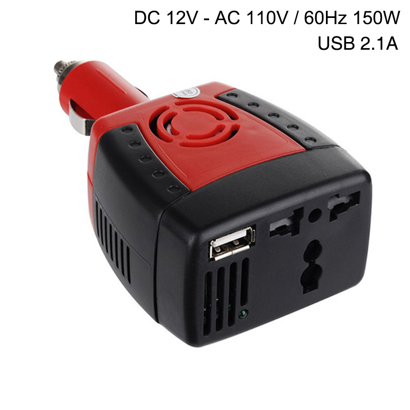 Car Inverter Power Supply 150w DC 12V to AC 110V 60Hz Converter Transformer Laptop Notebook Car Phone Charger Universal USB 2.1A(China (Mainland))