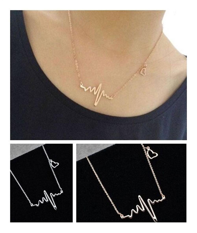 Heartbeat Rhythm with Dangling Heart Womens pendants Jewelry New EKG Heart Beat Necklace pendant(China (Mainland))