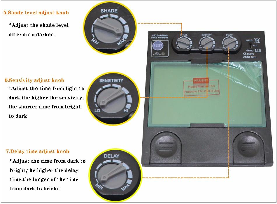 Купить Rechangeable батареи 4 датчика дуги большой вид солнечной автоматического затемнения/затенение шлифования сварочные маски/сварщика очки/маска/очки