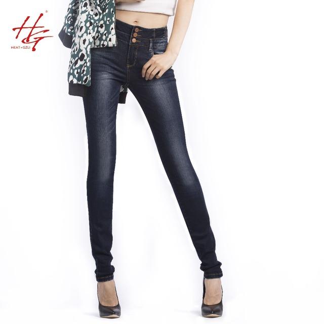 X12 2016 завышенной талией узкие джинсы для женщин глубокий синий кнопка карандаш ...
