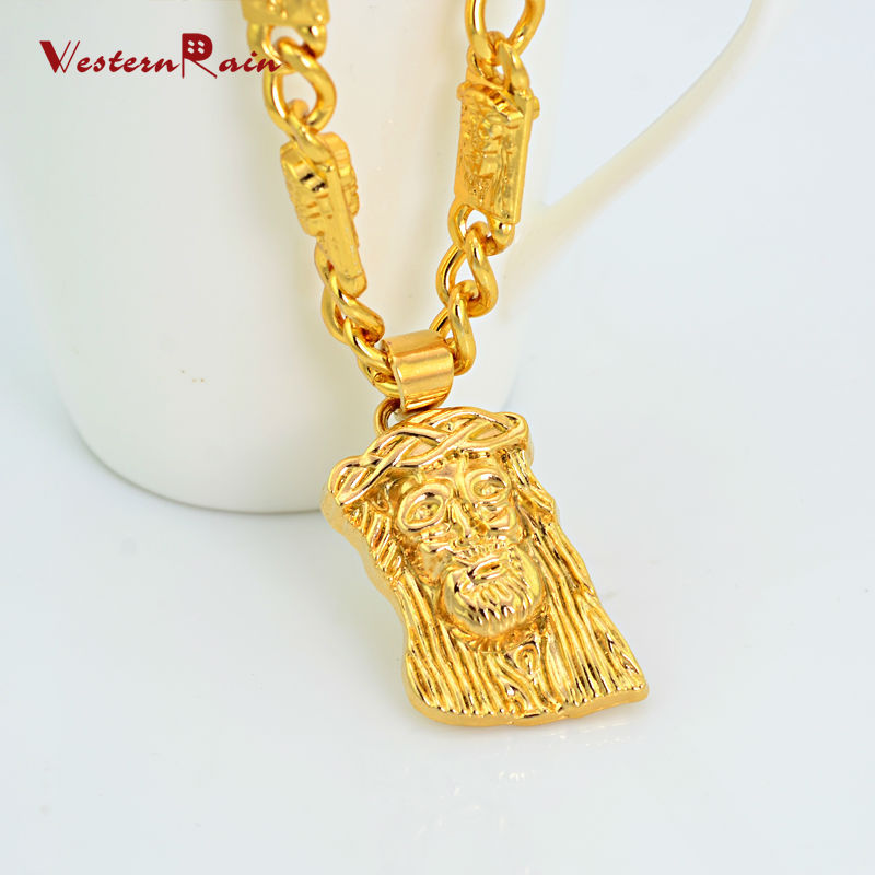 WesternRain New Product Yellow Gold Plated Necklace Pendants Curb Unisex Figure Long Chain Jewelry F855(China (Mainland))