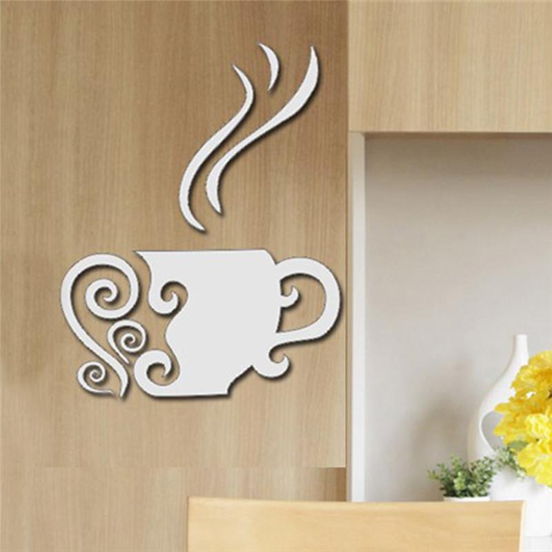 Tea flower cups acrylic plastic mirrors wall room decal for Acrylic wall art