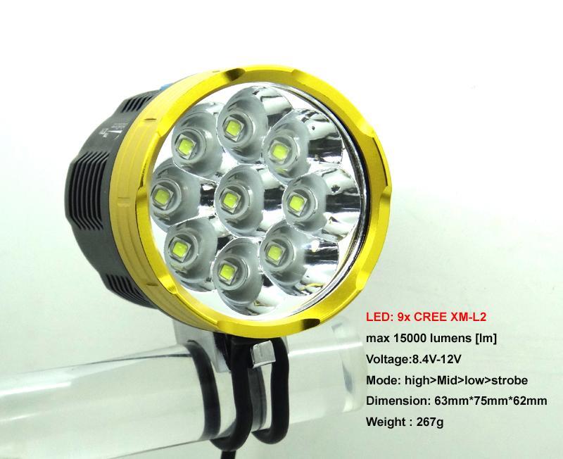 15000Lm bike lamp light 9xCREE 9 XM-L2 bicycle LED Lamp  Bike Light  (only head)